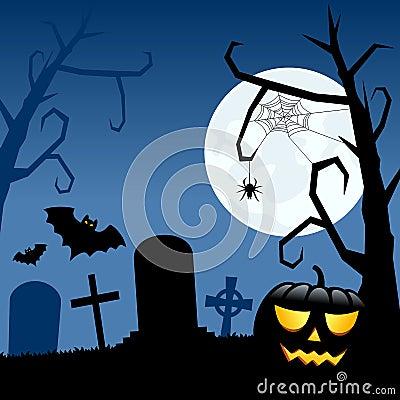 Halloween Pumpkin and Cemetery