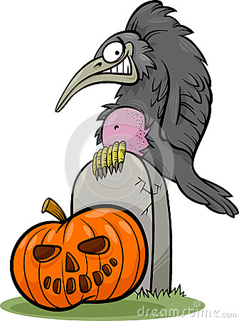 Halloween pumpkin with crow cartoon