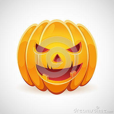 A Halloween pumpkin with evil smile card