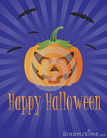 Halloween Pumpkin with Flying Bats Illustration