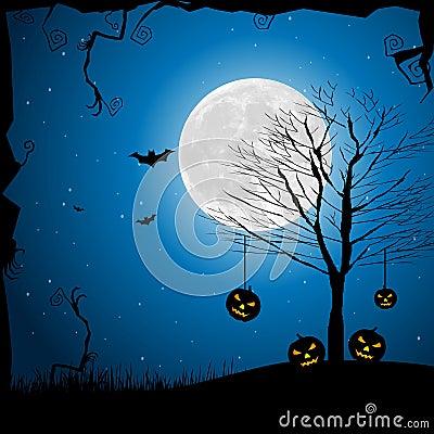 Halloween pumpkin in graveyard