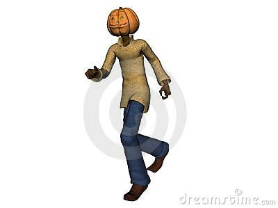 Halloween pumpkin head man