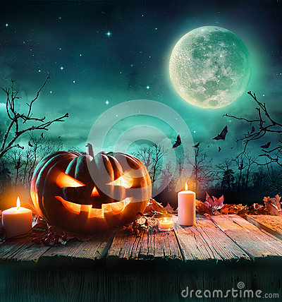 Free Halloween Pumpkin In A Spooky Forest At Night Stock Photography - 60287942