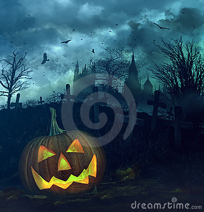 Free Halloween Pumpkin In Spooky Graveyard Royalty Free Stock Photography - 21612587