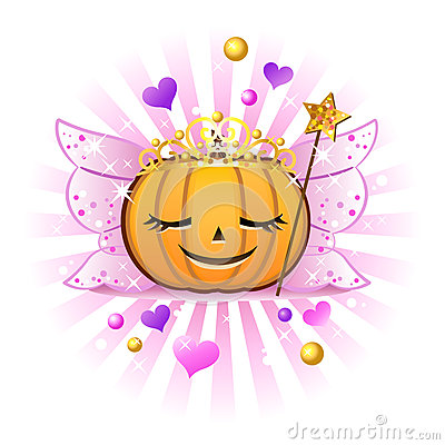 Halloween pumpkin Jack o lantern in fairy princess