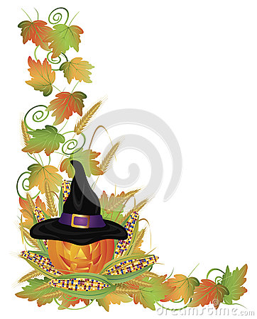 Halloween Pumpkin Jack-O-Lantern and Vines Border