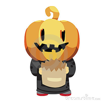 Halloween pumpkin kid