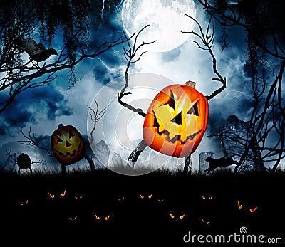 Halloween pumpkin king ghouls