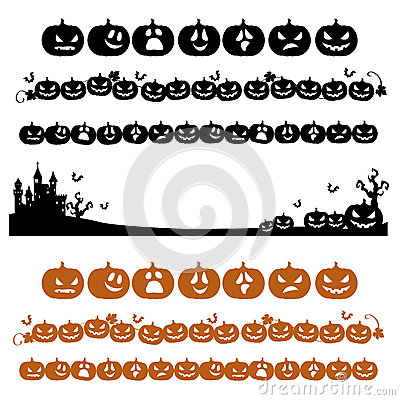 Halloween pumpkin line decoration in silhouette