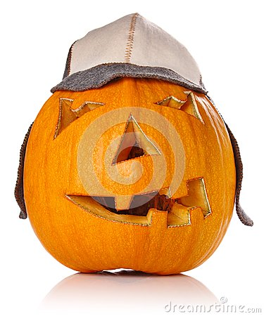 Halloween Pumpkin.Scary Jack O Lantern in warm cap