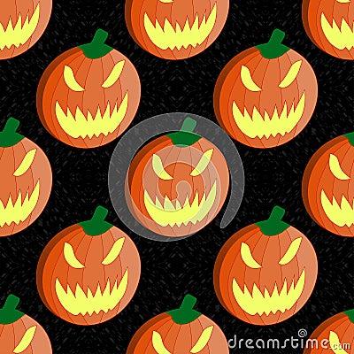 halloween pumpkin seamless vector pattern background