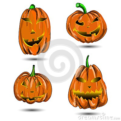 Halloween Pumpkin set  on white. Scary Jac