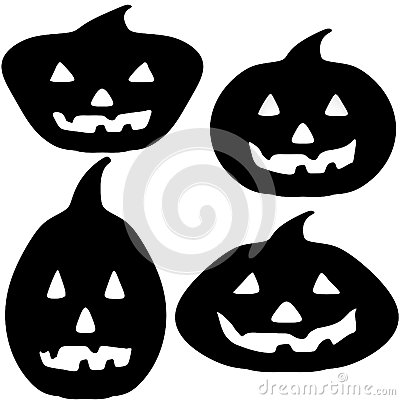 Halloween Pumpkin Silhouette Illustrations