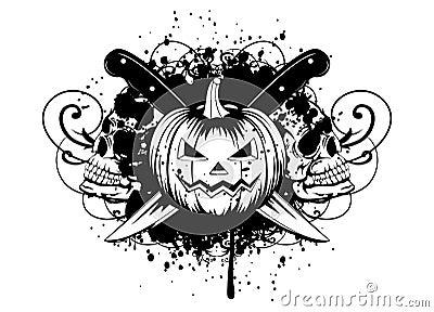 Halloween pumpkin with skulls