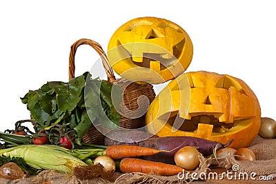 Halloween pumpkin and vegetables