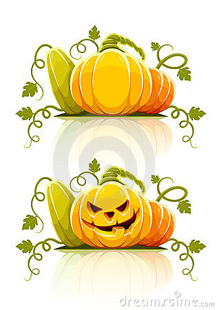 Halloween pumpkin vegetables with green leaves