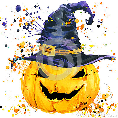 Free Halloween Pumpkin. Watercolor Illustration Background For The Holiday Halloween. Stock Photo - 59073110