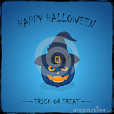Halloween pumpkin in witch hat on blue background Vector Illustration