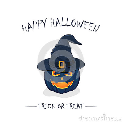 Halloween pumpkin in witch hat Vector Illustration