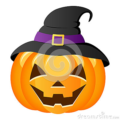 Free Halloween Pumpkin With Witch Hat Stock Images - 34728614