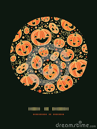 Halloween pumpkins circle decor pattern background