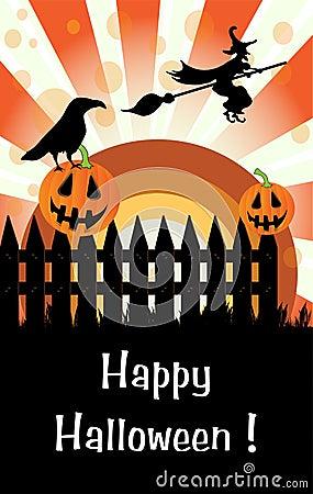 Halloween pumpkins on a fence
