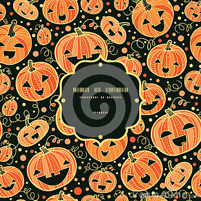 Halloween pumpkins frame seamless pattern