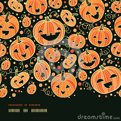 Halloween pumpkins horizontal border seamless