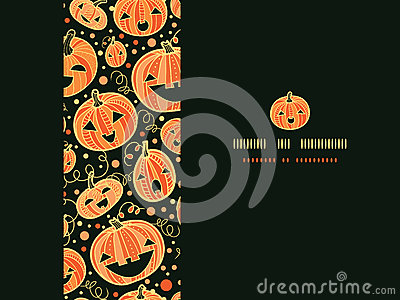 Halloween pumpkins horizontal frame seamless