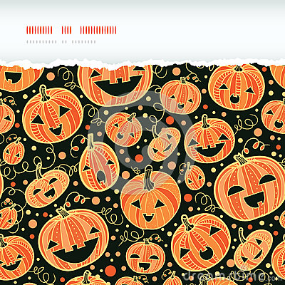 Halloween pumpkins horizontal torn frame seamless