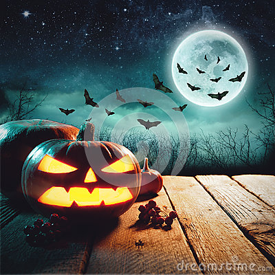 Free Halloween Pumpkins On Wood In A Spooky Forest At Night. Elements Of This Image Furnished By NASA Stock Image - 78375721