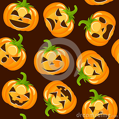 Halloween pumpkins seamless pattern stock vector image for Cartoon pumpkin patterns
