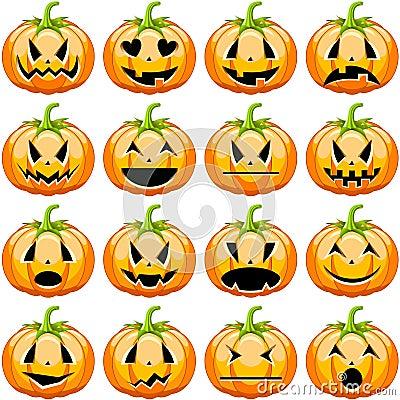 Free Halloween Pumpkins Set Royalty Free Stock Photography - 32032477