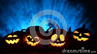 Halloween pumpkins on smoky background stock video