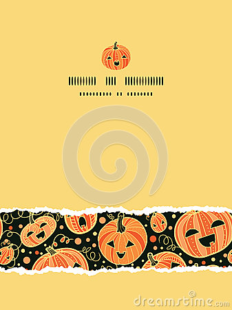 Halloween pumpkins vertical torn frame seamless