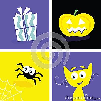 Halloween retro icons