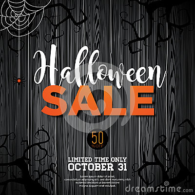 Free Halloween Sale Vector Illustration With Spider And Holiday Elements On Wood Texture Background. Design For Offer, Coupon, Banner, Royalty Free Stock Photos - 99197358