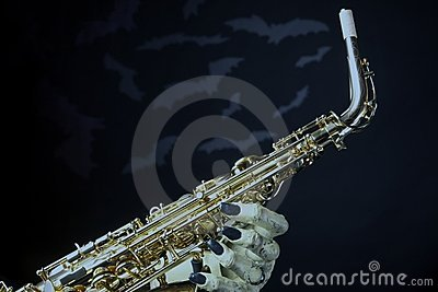 Halloween Saxophone and Bats