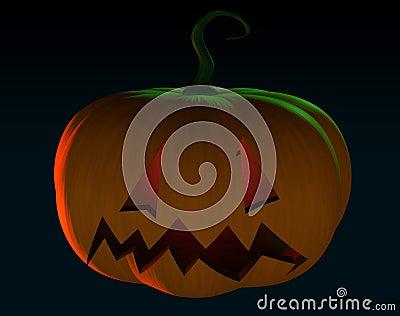 Halloween scary cartoon pumpkin trick or treat in black backgrou