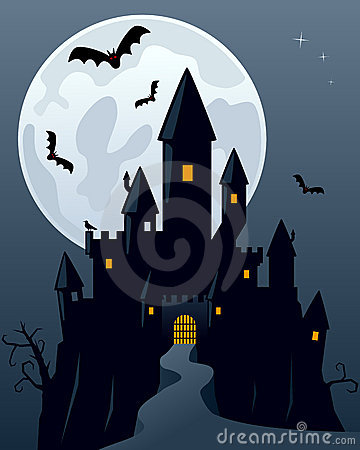 Halloween Scary Ghost Castle Vector Illustration