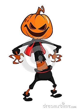 Free Halloween Scary Orange Yellow Cartoon Pumpkin Scarecrow. Vector Illustration. Stock Photo - 97727040