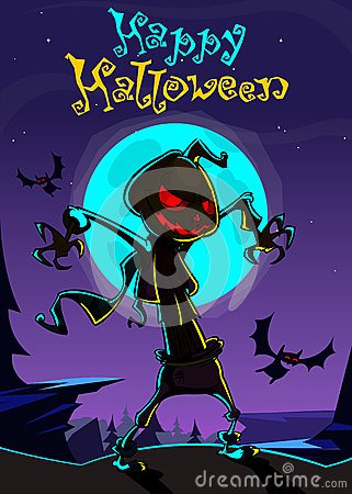 Free Halloween Scary Pumpkin Scarecrow,vector Illustration  Stock Images - 76462464