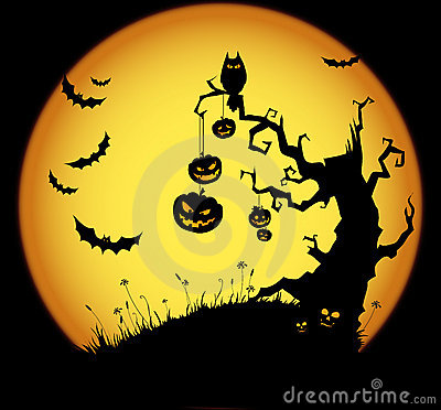 Halloween scene Vector Illustration