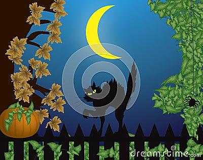 Halloween scene with cat