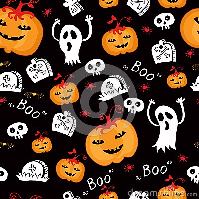Halloween seamless comic pumpkin and phantom.