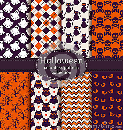 Free Halloween Seamless Patterns. Vector Set. Stock Photography - 43866612