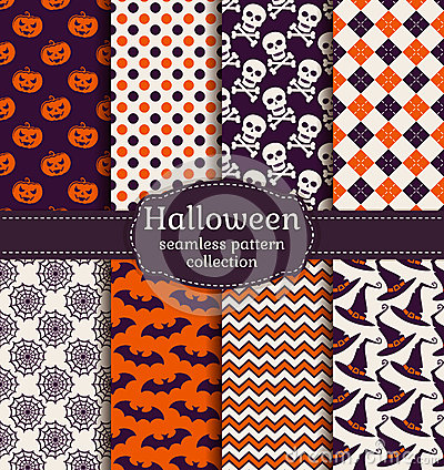 Free Halloween Seamless Patterns. Vector Set. Stock Images - 44032704