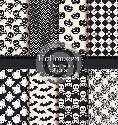 Free Halloween Seamless Patterns. Vector Set. Royalty Free Stock Photo - 44913825