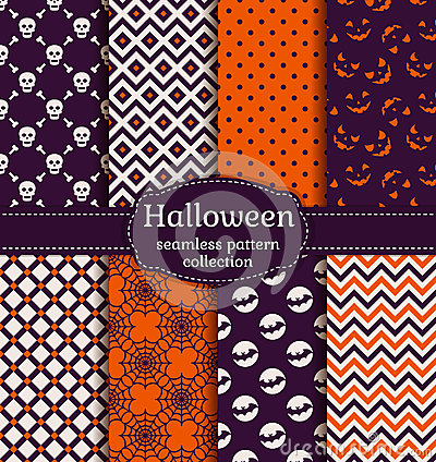 Free Halloween Seamless Patterns. Vector Set. Royalty Free Stock Photo - 59317265