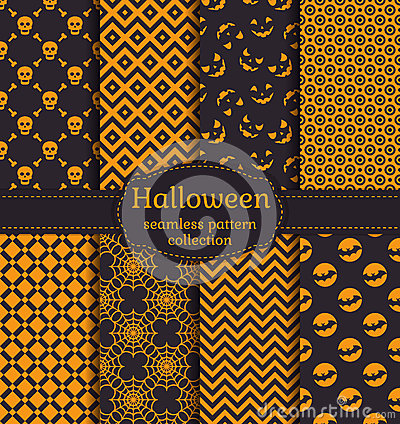 Free Halloween Seamless Patterns. Vector Set. Stock Images - 60222724